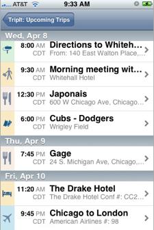 iPhone TripIt App
