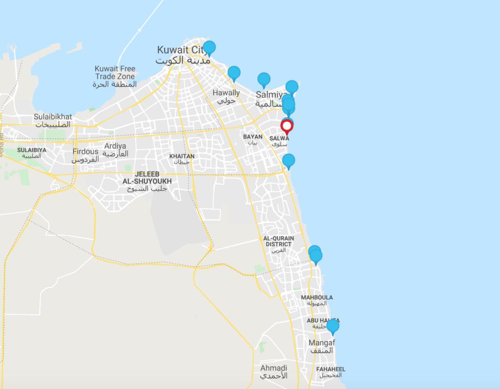 خارطة لفنادق الكويت المطلة على البحر